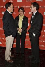 Trent Nelson  |  The Salt Lake Tribune Utah Gov. Gary Herbert and first lady Jeanette Herbert speak with director Jake Schreier at the premiere of the film