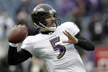 Baltimore Ravens quarterback Joe Flacco (5) warms up before the AFC Championship NFL football against the New England Patriots game  Sunday, Jan. 22, 2012, in Foxborough, Mass.  (AP Photo/Winslow Townson)