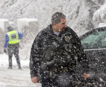 Al Hartmann  |  The Salt Lake Tribune Park City Police Officer Ben Powers dealt with many car slide offs and accidents while on his day shift Saturday January 21 during the Sundance Film Festival.