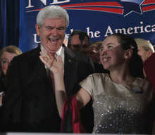 Republican presidential candidate and former House Speaker Newt Gingrich prepares to walk off stage with his grand daughter Maggie Cushman, after Gingrich spoke during aSouth Carolina Republican presidential primary night rally, Saturday, Jan. 21, 2012, in Columbia, S.C. Newt Gingrich won the South Carolina primary. (AP Photo/Matt Rourke)
