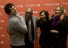 Kim Raff  The Salt Lake Tribune (from left) Cast member Andy Samberg, Quincy Jones (father of Rashida), Rashida Jones, and Peggy Lipton (mother of Rashida) on the red carpet before the premiere of