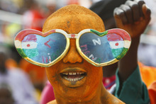 A Niger fan reacts during their African Cup of Nations Group C soccer match Gabon against Niger at Stade De L'Amitie in Libreville, Gabon, Monday, Jan. 23, 2012. (AP Photo/Francois Mori)