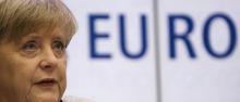 German Chancellor Angela Merkel looks on during her speech at an event of the Konrad-Adenauer-Stiftung