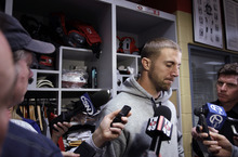 San Francisco 49ers quarterback Alex Smith pauses as he talks to reporters at his locker at the NFL football team's headquarters in Santa Clara, Calif., Monday, Jan. 23, 2012. The 49ers lost to the New York Giants in the NFC championship game Sunday. (AP Photo/Paul Sakuma)