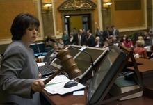 Al Hartmann  |  The Salt Lake Tribune Speaker of the House Becky Lockhart bangs the gavel to bring the House to order to start the  2012 Utah Legislature Monday January 23.