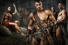Katrina Law as Mira; Liam McIntyre as Spartacus; Peter Mensah as Oenomaus and Manu Bennett as Crixus in