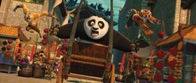 In this film publicity image released by Paramount Pictures, Po, voiced by Jack Black, center, Tigress, voiced by Angelina Jolie, right, and Monkey, voiced by Jackie Chan are shown in a scene from