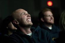 Chris Detrick  |  The Salt Lake Tribune Sundance volunteer Joshua Allen watches a movie at the Park City Library.