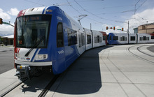 Tribune file photo A train on the new TRAX lines in West Valley City.