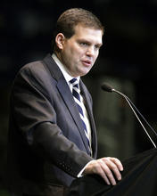 Jay Paterno, son of former Penn State football coach Joe Paterno, speaks during a memorial service for Joe Paterno at Penn State's Bryce Jordan Center in State College, Pa., Thursday, Jan. 26, 2012. A capacity crowd of more than 12,000 packed the Bryce Jordan Center for one more tribute to Paterno, the Hall of Fame football coach who died Sunday from lung cancer. (AP Photo/Gene J. Puskar)