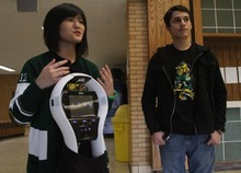 Rick Egan    The Salt Lake Tribune Kearns High School students Thao Nguyen, left, and Eric Mijanos talk on Thursday about the robot they raised funds for. The Kearns High OK Club raised $3,500 toward the donation of a VGo robot to Primary Children's Medical Center. The robot is able to attend class for a patient, relaying video of class in real-time and asking questions for the patient.