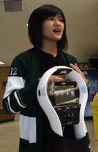 Rick Egan    The Salt Lake Tribune Kearns High School student Thao Nguyen talks on Thursday about the robot he and fellow Kearns students Zach Lester and Eric Mijanos raised funds for. The Kearns High OK Club raised $3,500 toward the donation of a VGo robot to Primary Children's Medical Center. The robot is able to attend class for a patient, relaying video of class in real-time and asking questions for the patient.