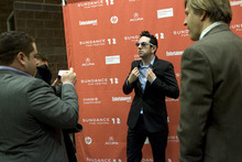 Kim Raff |The Salt Lake Tribune Actor (middle) Brian Berrebbi has Victor Cruz take video of him on the red carpet with (right) Jayce Bartok watches before the premiere of