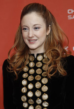 Actress Andrea Riseborough poses at the premiere of