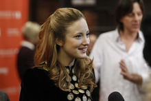 Actress Andrea Riseborough is interviewed at the premiere of