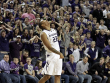 Kansas State guard Rodney McGruder (22) reacts after missing a three-point basket for the tie at the buzzer during the second half of an NCAA college basketball game against Oklahoma, Saturday, Jan. 28, 2012, in Manhattan, Kan. Oklahoma won the game 63-60. (AP Photo/Charlie Riedel)