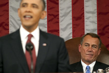 House Speaker John Boehner listens as President Barack Obama delivers his State of the Union address in front of a joint session of Congress Tuesday, Jan. 24, 2012, at the Capitol in Washington. (AP Photo/Saul Loeb, Pool)