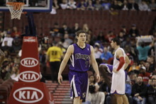 Sacramento Kings' Jimmer Fredette (7) during an NBA basketball game against the Philadelphia 76ers, Tuesday, Jan. 10, 2012, in Philadelphia. (AP Photo/Matt Slocum)