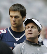 New England Patriots quarterback Tom Brady, left, and coach Bill Belichick are seen during the team's walk through at University of Phoenix Stadium on Saturday, Feb. 2, 2008 in Glendale, Ariz. The Patriots will play the New York Giants in the Super Bowl XLII football game on Sunday, Feb. 3.  (AP Photo/Stephan Savoia)