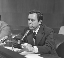 Courtesy of U.S. Senate Historical Office Sen. Orrin Hatch speaks at one of his first Senate hearings. Right from the start, he was active on labor and judicial issues.
