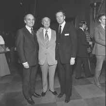 Photo Courtesy of U.S. Senate Historical Office New Sen. Orrin Hatch, right, poses with Sen. Jake Garn, R-Utah, and Sen. Strom Thurmond, R-S.C., at a reception at the start of 1977.