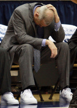 BYU head coach Dave Rose hangs his head as the Cougars fall behind  during an NCAA college basketball game in the Marriott Center in Provo, Utah Saturday, Jan. 28, 2012. (AP Photo/The Salt Lake Tribune, Rick Egan)