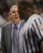 BYU  head coach Dave Rose reacts to a call, in second half of an NCAA college basketball game Saturday Jan. 28, 2012 at the Marriott Center in Provo,  Utah. (AP Photo/The Salt Lake Tribune, Rick Egan)