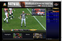 This screen shot from a computer monitor shows pro-football game action without watching television. For the first time, U.S. football fans will be able to watch the Super Bowl live on a computer or on a phone. (AP Photo/NBC)