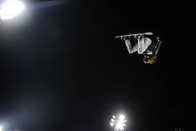 Shaun White takes off on his final run during the Winter X Games' men's snowboard superpipe final on Sunday, Jan. 29, 2012, at Buttermilk Mountain in Aspen, Colo. White, who won the gold medal, scored a perfect 100 for the first time in X Games history. (AP Photo/The Denver Post, Daniel Petty)