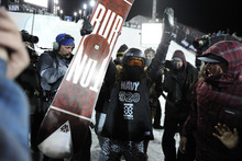 Shaun White celebrates after his run in the men's snowboard superpipe finals at Winter X Games 2012 at Buttermilk Mountain in Aspen, Colo., on Sunday, Jan. 29, 2012.(AP Photo/The Denver Post, AAron Ontiveroz)