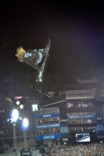 Shaun White competes in the snowboard superpipe on Sunday night Jan. 29, 2012 in Aspen, Colo., during the X Games competition.  White won his fifth consecutive gold medal.   (AP Photo/Chris Council, Aspen Daily News)