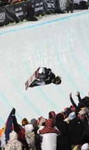 Shaun White scores a 94.00 on his first run to win the gold medal Sunday, Jan. 29, 2012,  during men's snowboarding superpipe finals at the Winter X Games at Buttermilk Mountain in Aspen, Colo.  (AP Photo/The Gazette, Christian Murdock)