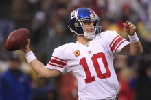 New York Giants quarterback Eli Manning throws during the first half of the NFC Championship NFL football game against the San Francisco 49ers Sunday, Jan. 22, 2012, in San Francisco. (AP Photo/Marcio Jose Sanchez)