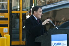 Chris Detrick  |  The Salt Lake Tribune Utah Gov. Gary Herbert speaks at a Questar CNG Station at 1200 W. 200 South Tuesday, launching his U-CAIR initiative, which invites all Utah households, industries, businesses and local governments to do their part to clean up the air.