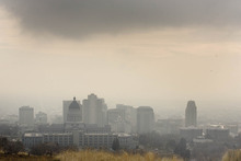 Paul Fraughton | The Salt Lake Tribuner  Salt Lake City's downtown area is shrouded in an inversion leading to a red air quality day. Wednesday, December 14, 2011