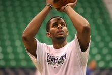 Paul Fraughton | The Salt Lake Tribune. C.J. Miles warms up prior to the game. The Utah Jazz played Portland at Energy Solutions Arena.  Monday, January 30, 2012