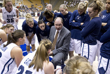 Jaren Wilkey | Photo courtesy of BYU  BYU women's basketball coach Jeff Judkins talks to his team during a timeout against Pepperdine earlier this month.