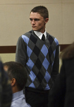 Leah Hogsten  |  The Salt Lake Tribune Dallin Todd Morgan, the 18-year-old Roy High School student charged with plotting to bomb the school with the help of a 16-year-old co-conspirator and fellow student, appeared before Ogden, Utah's 2nd District Court Judge W. Brent West Wednesday, Feb. 1, 2012.  Police say the teens, both Roy High seniors, had planned to set off a bomb during a school assembly, then steal an airplane and fly to another country.