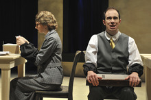 Caroline Haydon plays Daisy Diana Dorothea Devore with Mark Macey as Mr. Zero in the U Department of Theatre's production of Elmer Rice's play