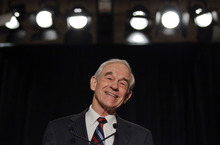 Republican presidential candidate Rep. RonPaul, R-Texas, speaks to supporters Wednesday, Feb. 1, 2012, in Las Vegas.  (AP Photo/Julie Jacobson)