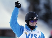 Dylan Ferguson, of the United States, reacts after his run during the men's aerial qualifications at the World Cup freestyle skiing competition on Friday, Feb. 3, 2012, at Deer Valley Resort in Park City, Utah. (AP Photo/Jim Urquhart)