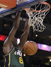 Utah Jazz forward Josh Howard scores against the Golden State Warriors during the first half of an NBA basketball game Thursday, Feb. 2, 2012, in Oakland, Calif. (AP Photo/Ben Margot)