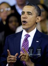 President Barack Obama speaks at the James Lee Community Center in Falls Church, Va., Wednesday, Feb. 1, 2012. (AP Photo/Cliff Owen)