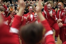 Kim Raff |The Salt Lake Tribune Bountiful High School reacts to winning the 4A Drill Team State Championship at Utah Valley University in Orem, Utah on February 3, 2012.