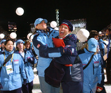 Tribune file photo Ten years later, speedskater Derek Parra, pictured here with Cammi Granato during the Closing Ceremonies, can still remember every detail of his gold-medal-winning performance at the 2002 Salt Lake Olympics.