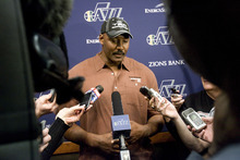Jeremy Harmon  |  The Salt Lake Tribune  Karl Malone talks to reporters about Jerry Sloan's resignation before the Jazz game against the Phoenix Suns on Friday, February 11, 2011.