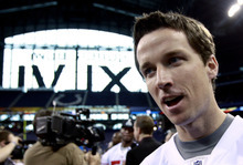 New York Giants kicker Lawrence Tynes answers questions during Media Day for NFL football's Super Bowl XLVI Tuesday, Jan. 31, 2012, in Indianapolis. (AP Photo/David J. Phillip)