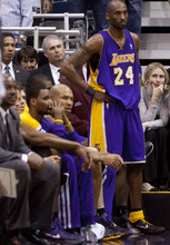 Trent Nelson  |  The Salt Lake Tribune Los Angeles Lakers' Kobe Bryant (24) on the bench as time runs out and Utah wins. Utah Jazz host the Los Angeles Lakers, NBA basketball Saturday at EnergySolutions Arena in Salt Lake City.