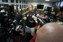 Paul Fraughton | The Salt Lake Tribune. Brian Johnson, who was named the new offensive coordinator for the University of Utah, talks to the media about his new position  Thursday, February 2, 2012