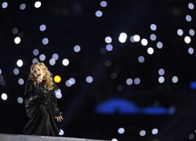 Madonna performs during halftime of the the NFL Super Bowl XLVI football game between the New York Giants and the New England Patriots, Sunday, Feb. 5, 2012, in Indianapolis. (AP Photo/Matt Slocum)